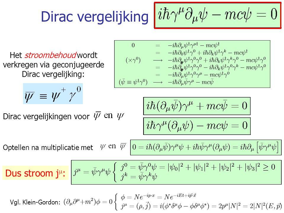 Het stroombehoud wordt verkregen via geconjugeerde Dirac vergelijking: