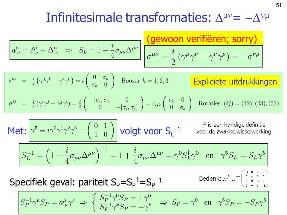Infinitesimale transformaties: = 