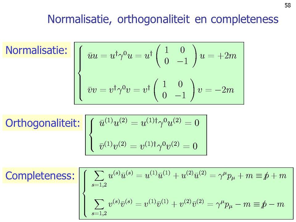 Normalisatie, orthogonaliteit en completeness