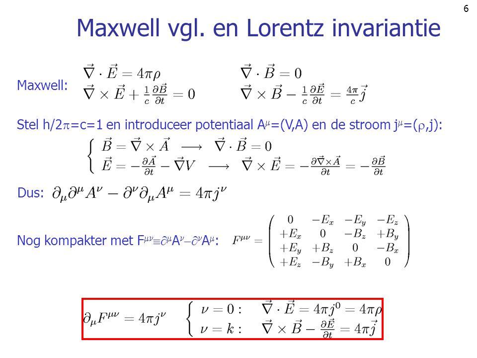Maxwell vgl. en Lorentz invariantie