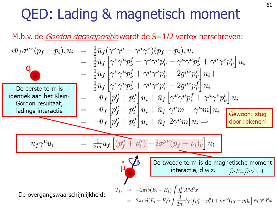 QED: Lading & magnetisch moment