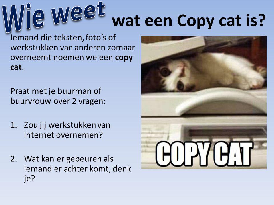 Wie weet wat een Copy cat is