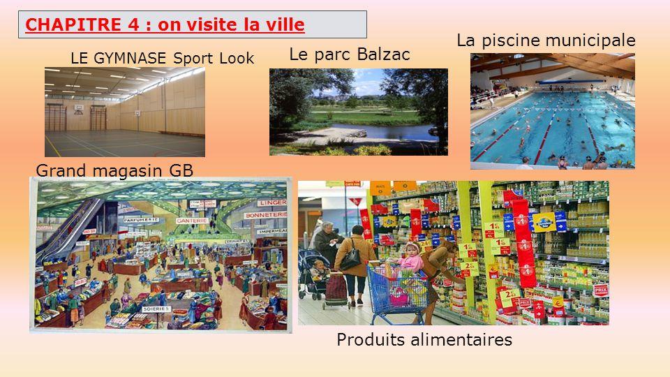 CHAPITRE 4 : on visite la ville La piscine municipale Le parc Balzac