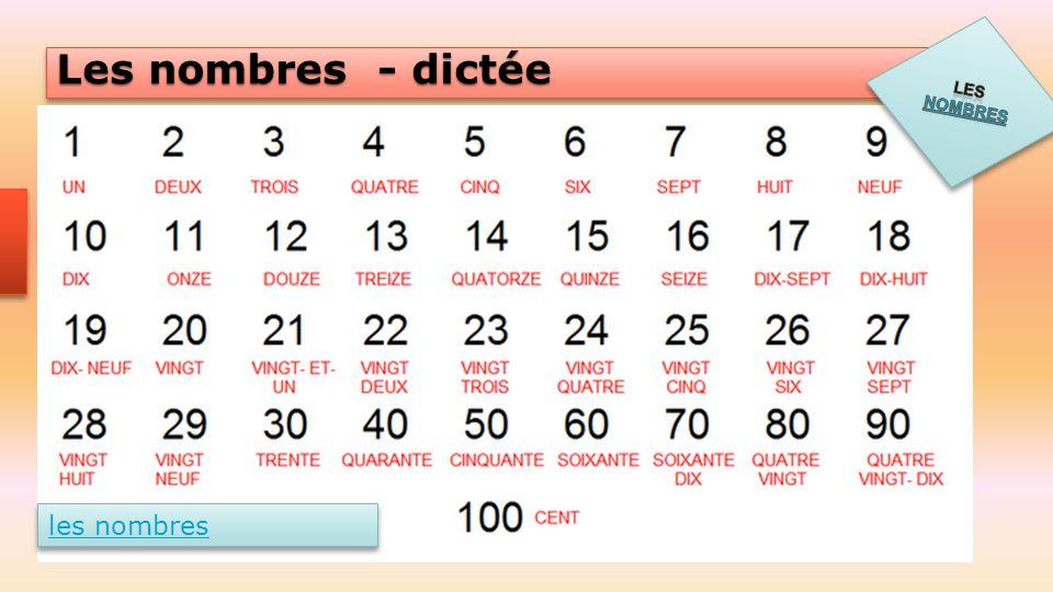 Les nombres Les nombres - dictée les nombres