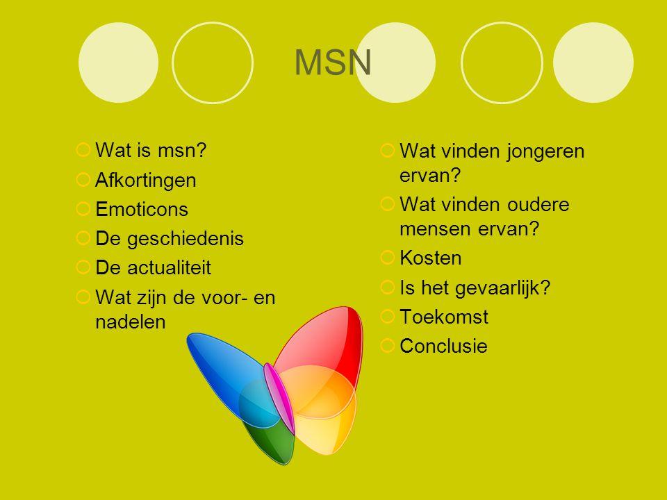 MSN Wat is msn Afkortingen Wat vinden jongeren ervan Emoticons