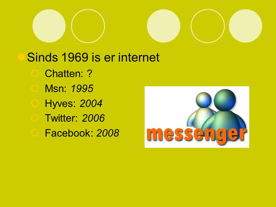 Sinds 1969 is er internet Chatten: Msn: 1995 Hyves: 2004