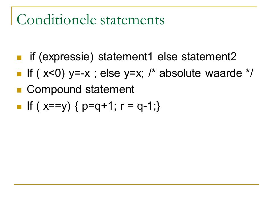 Conditionele statements