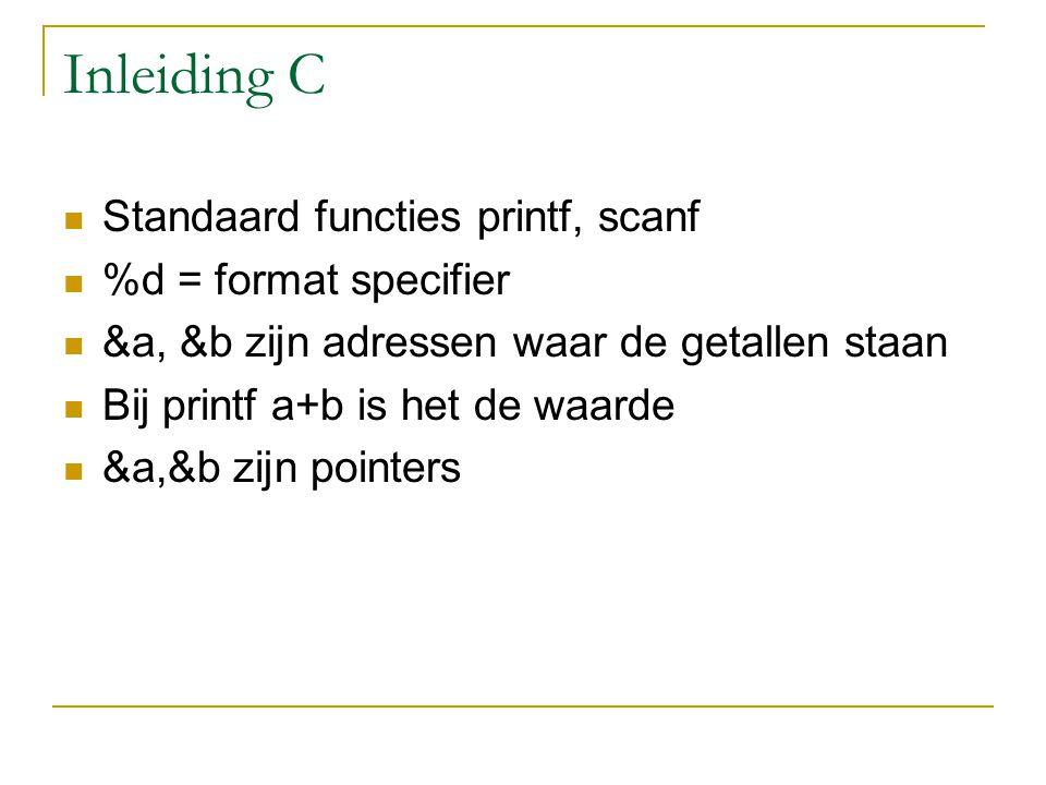 Inleiding C Standaard functies printf, scanf %d = format specifier