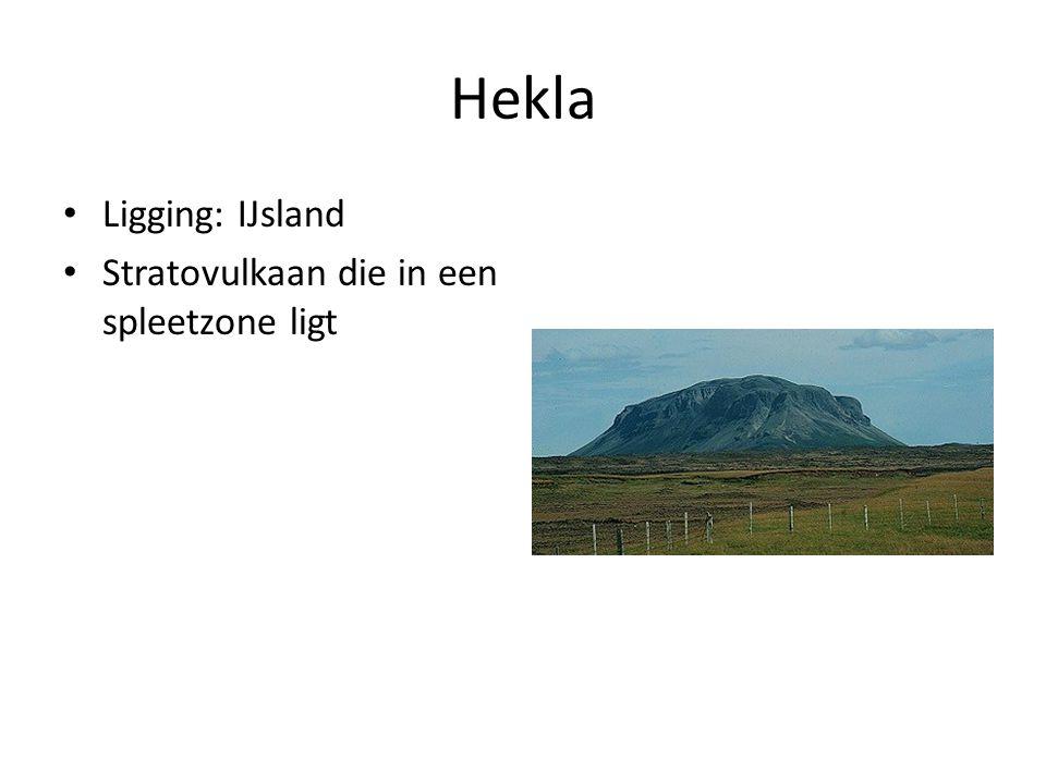 Hekla Ligging: IJsland Stratovulkaan die in een spleetzone ligt