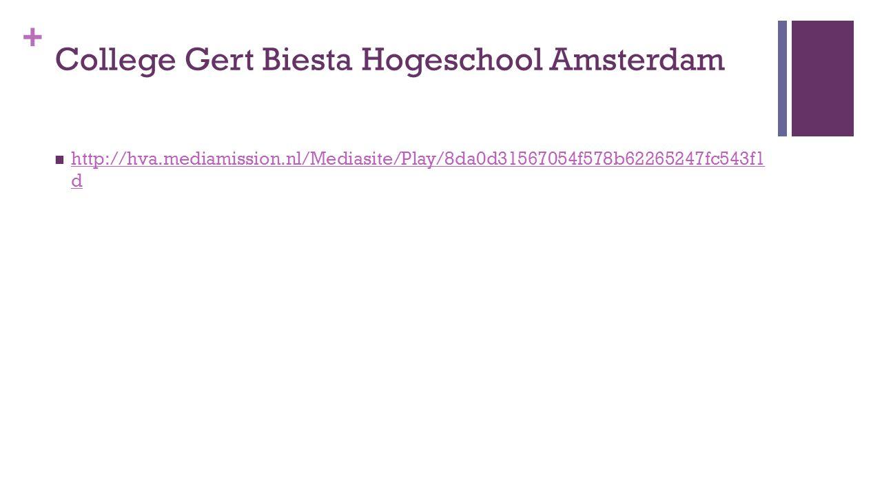 College Gert Biesta Hogeschool Amsterdam
