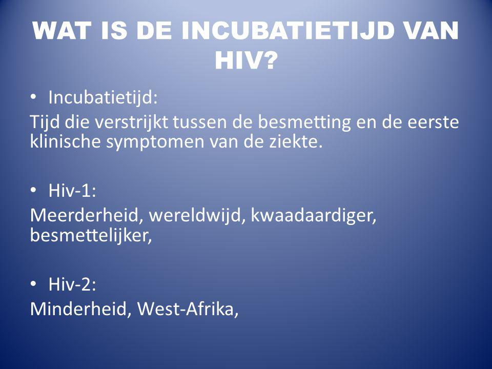 WAT IS DE INCUBATIETIJD VAN HIV