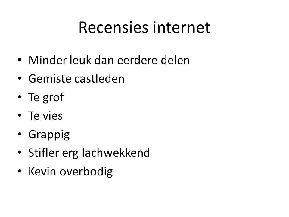 Recensies internet Minder leuk dan eerdere delen Gemiste castleden