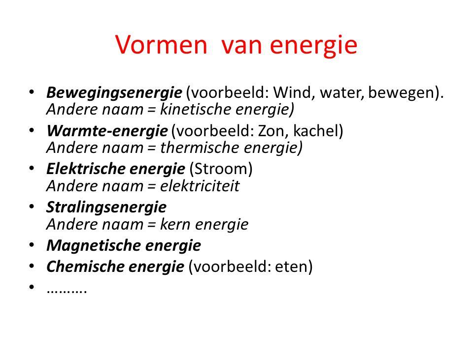 Vormen van energie Bewegingsenergie (voorbeeld: Wind, water, bewegen). Andere naam = kinetische energie)