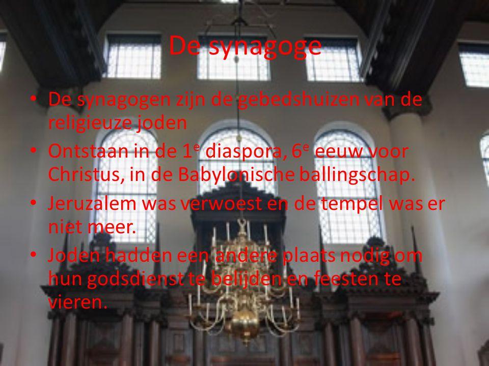 De synagoge De synagogen zijn de gebedshuizen van de religieuze joden