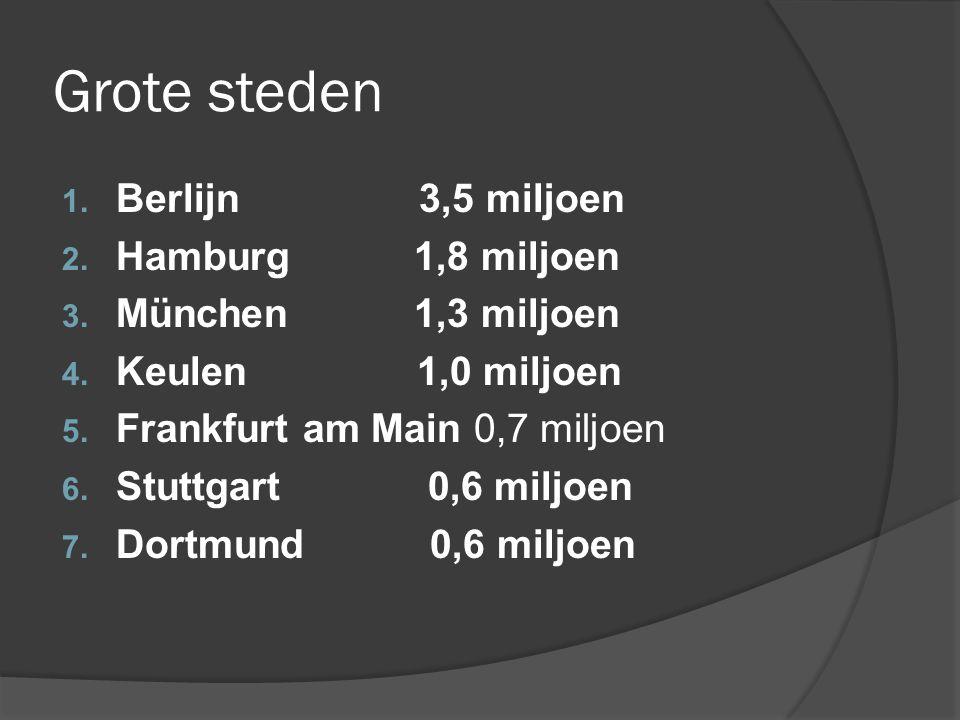 Grote steden Berlijn 3,5 miljoen Hamburg 1,8 miljoen