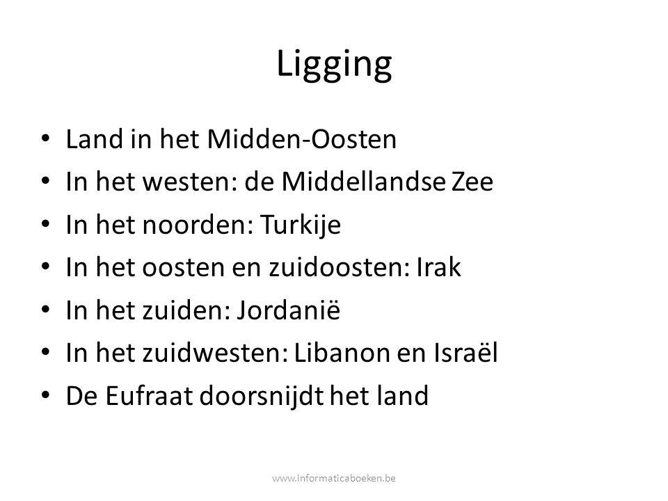 Ligging Land in het Midden-Oosten In het westen: de Middellandse Zee