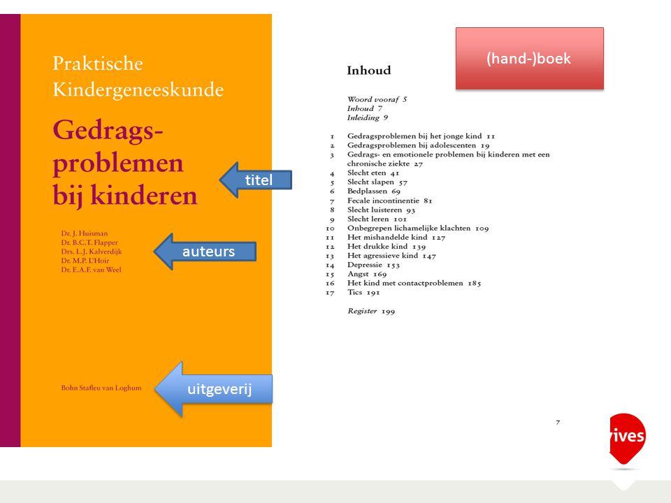 (hand-)boek titel auteurs uitgeverij