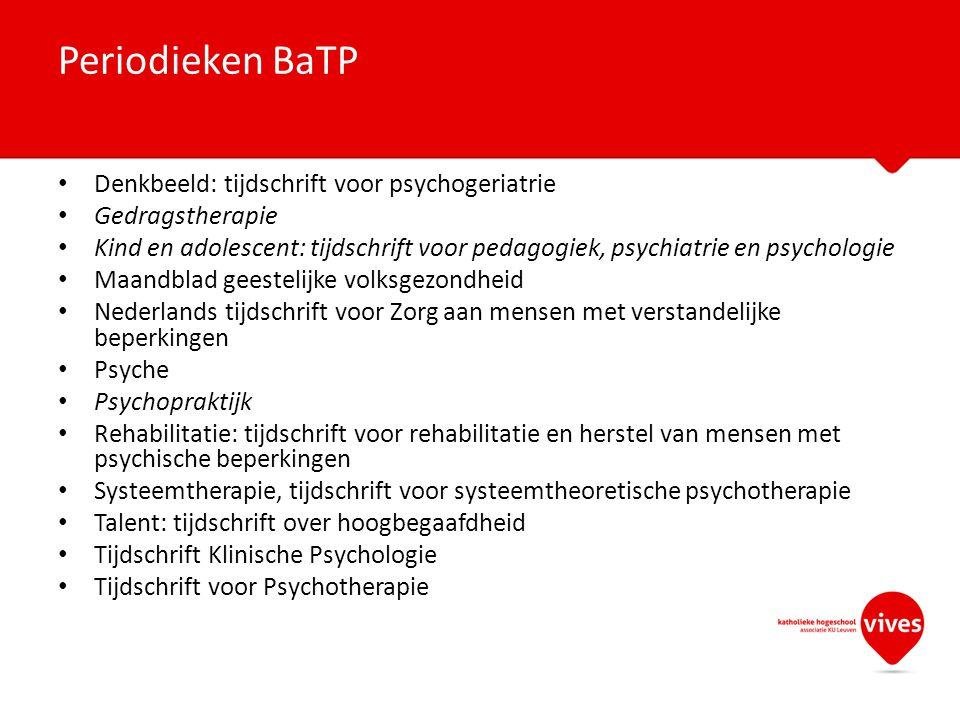 Periodieken BaTP Denkbeeld: tijdschrift voor psychogeriatrie