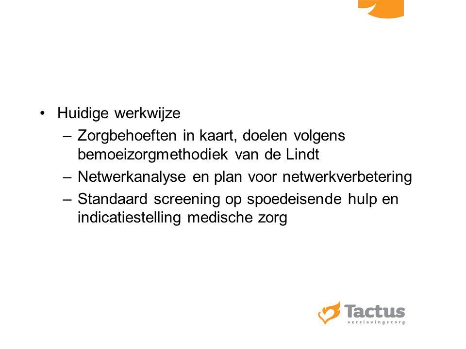 Huidige werkwijze Zorgbehoeften in kaart, doelen volgens bemoeizorgmethodiek van de Lindt. Netwerkanalyse en plan voor netwerkverbetering.