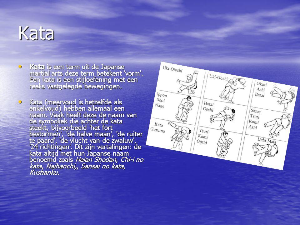 Kata Kata is een term uit de Japanse martial arts deze term betekent vorm . Een kata is een stijloefening met een reeks vastgelegde bewegingen.