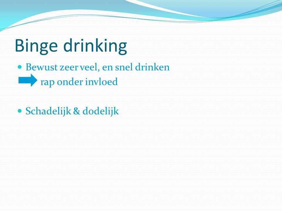 Binge drinking Bewust zeer veel, en snel drinken rap onder invloed