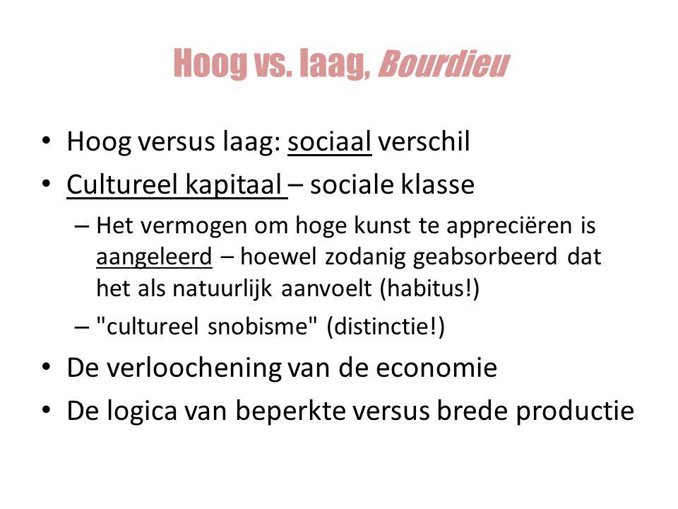 Hoog vs. laag, Bourdieu Hoog versus laag: sociaal verschil