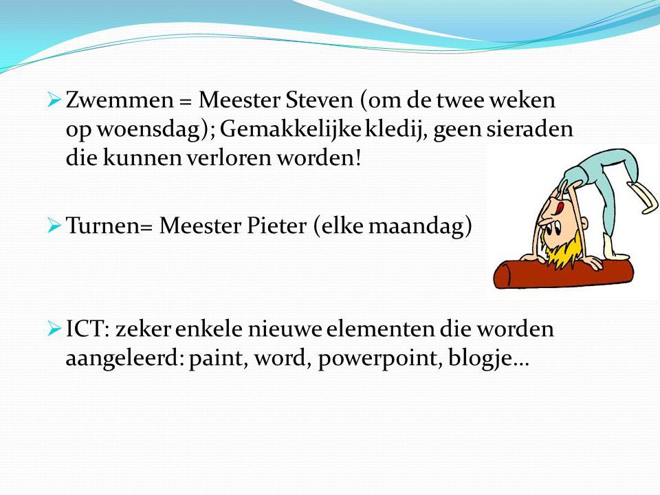 Zwemmen = Meester Steven (om de twee weken op woensdag); Gemakkelijke kledij, geen sieraden die kunnen verloren worden!