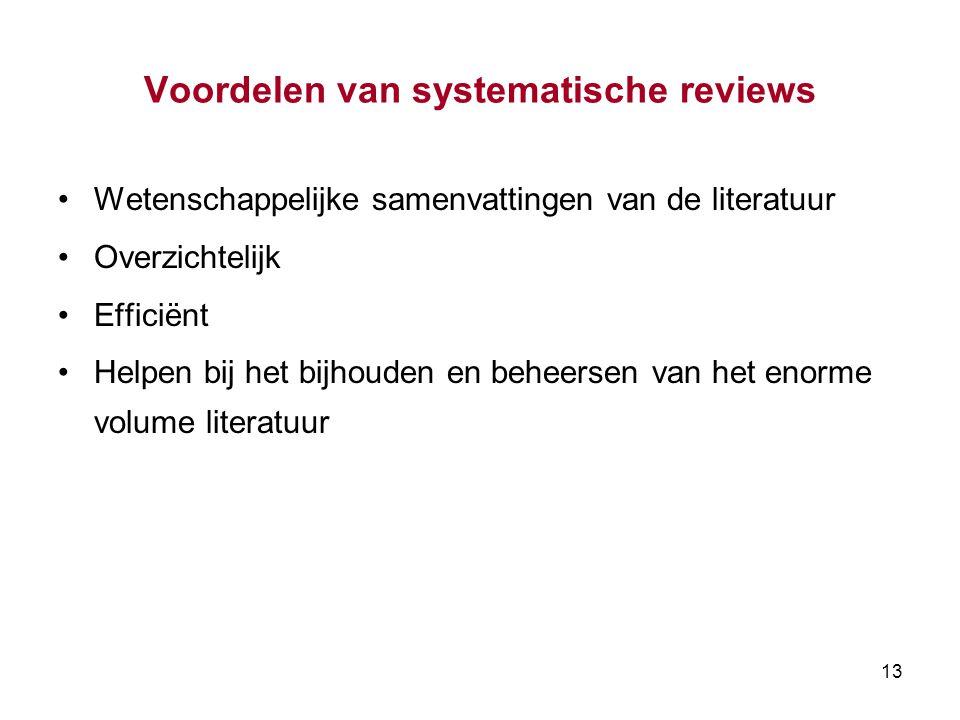 Voordelen van systematische reviews