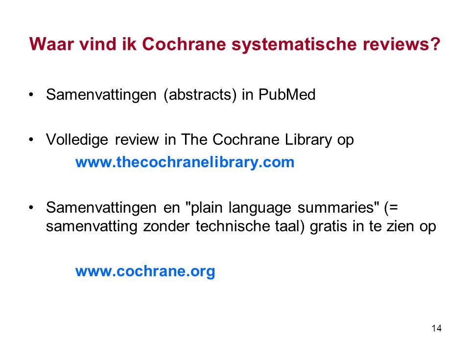 Waar vind ik Cochrane systematische reviews