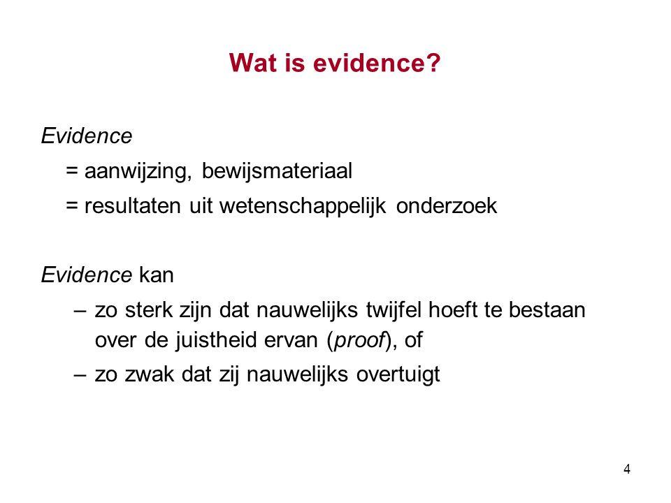 Wat is evidence Evidence = aanwijzing, bewijsmateriaal