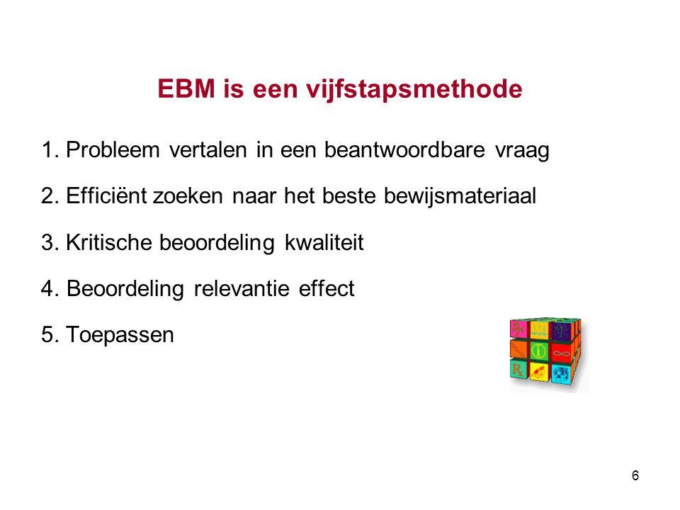 EBM is een vijfstapsmethode