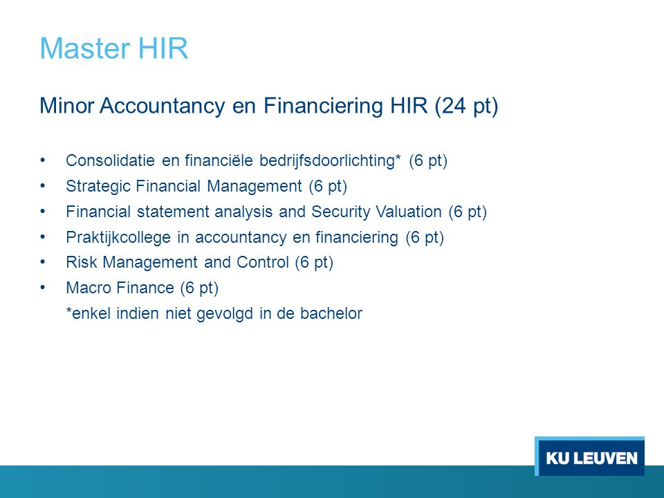 Master HIR Minor Accountancy en Financiering HIR (24 pt)