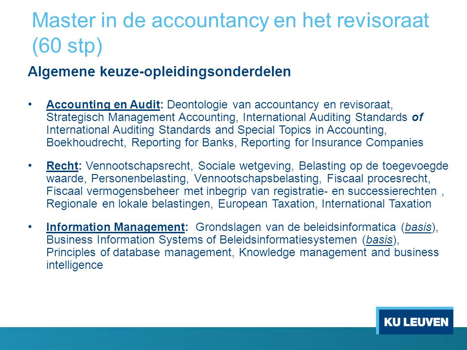 Master in de accountancy en het revisoraat (60 stp)