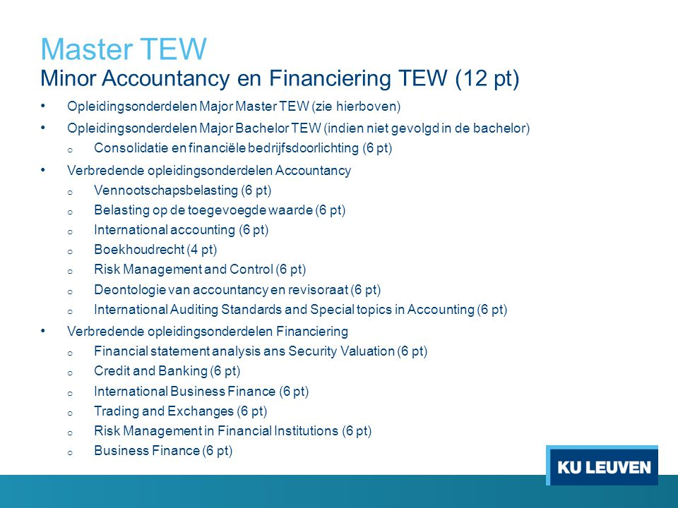 Master TEW Minor Accountancy en Financiering TEW (12 pt)