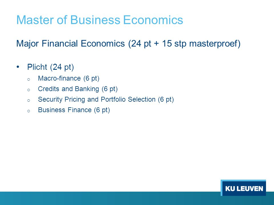 Master of Business Economics
