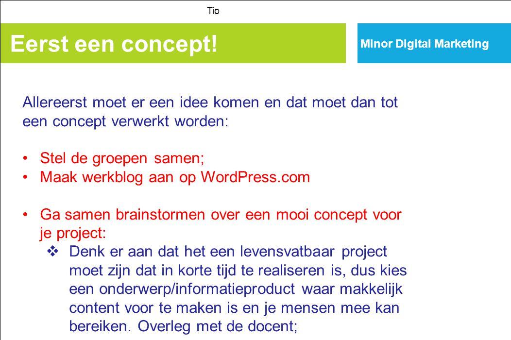 Tio Minor Digital Marketing. Eerst een concept! Allereerst moet er een idee komen en dat moet dan tot een concept verwerkt worden: