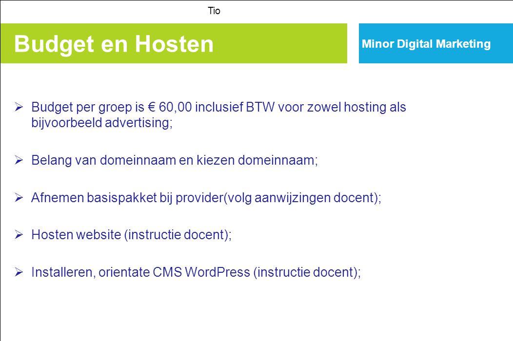 Tio Minor Digital Marketing. Budget en Hosten. Budget per groep is € 60,00 inclusief BTW voor zowel hosting als bijvoorbeeld advertising;