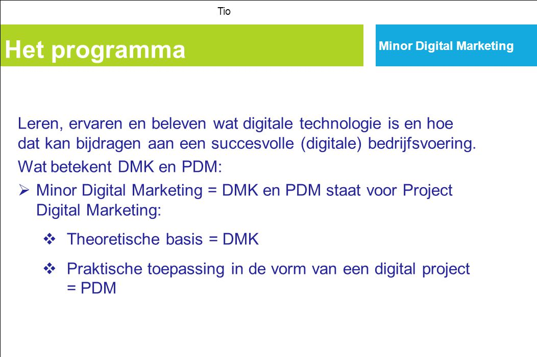 Tio Minor Digital Marketing. Het programma.