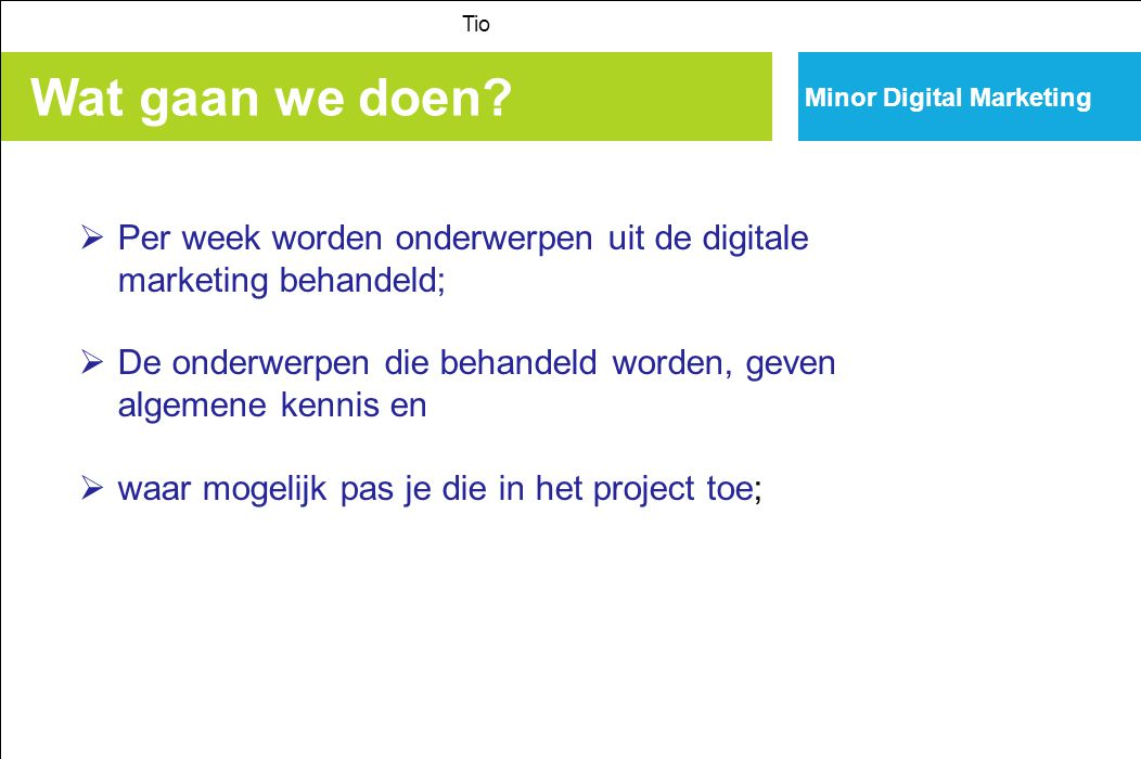 Tio Minor Digital Marketing. Wat gaan we doen Per week worden onderwerpen uit de digitale marketing behandeld;