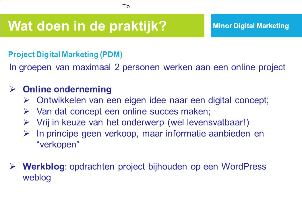 Tio Minor Digital Marketing. Wat doen in de praktijk Project Digital Marketing (PDM)