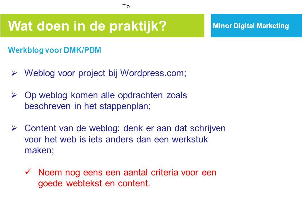 Wat doen in de praktijk Weblog voor project bij Wordpress.com;