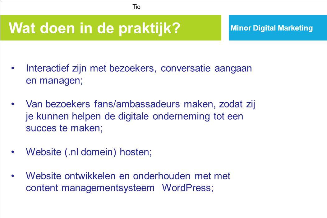 Tio Minor Digital Marketing. Wat doen in de praktijk Interactief zijn met bezoekers, conversatie aangaan en managen;