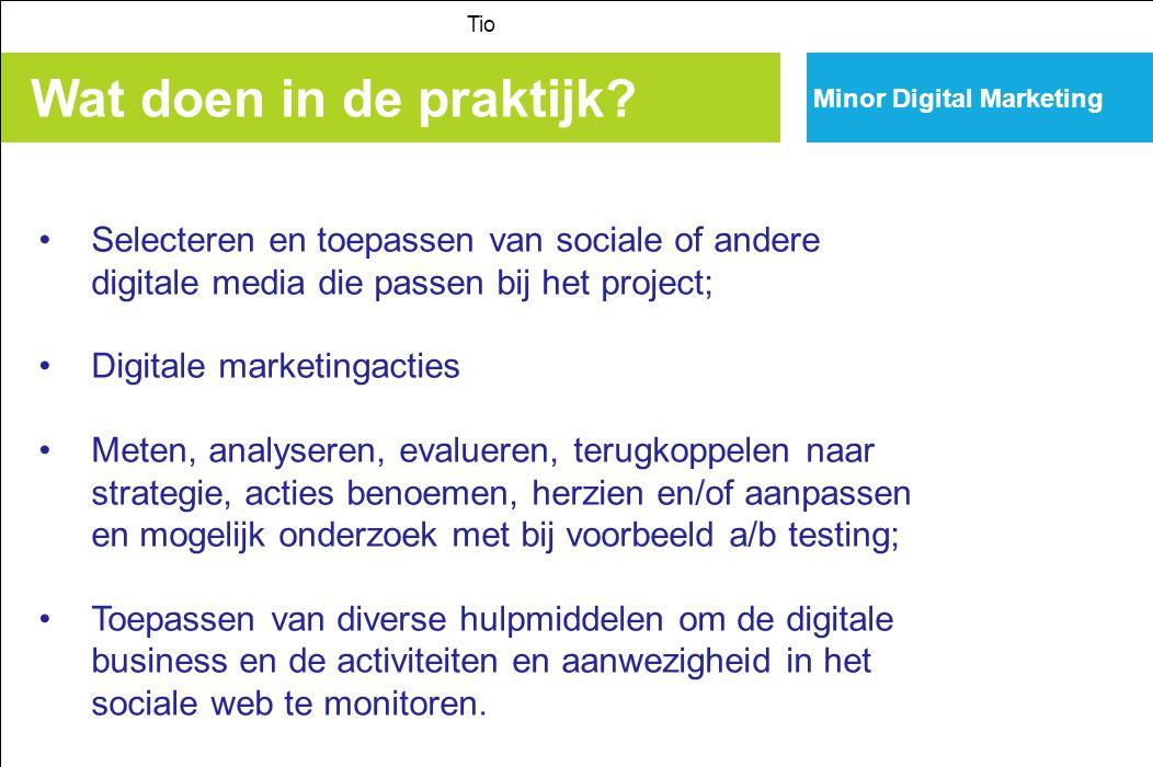 Tio Minor Digital Marketing. Wat doen in de praktijk Selecteren en toepassen van sociale of andere digitale media die passen bij het project;