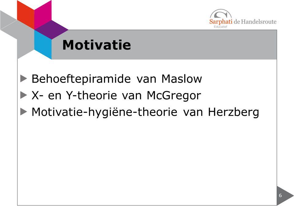 Motivatie Behoeftepiramide van Maslow X- en Y-theorie van McGregor