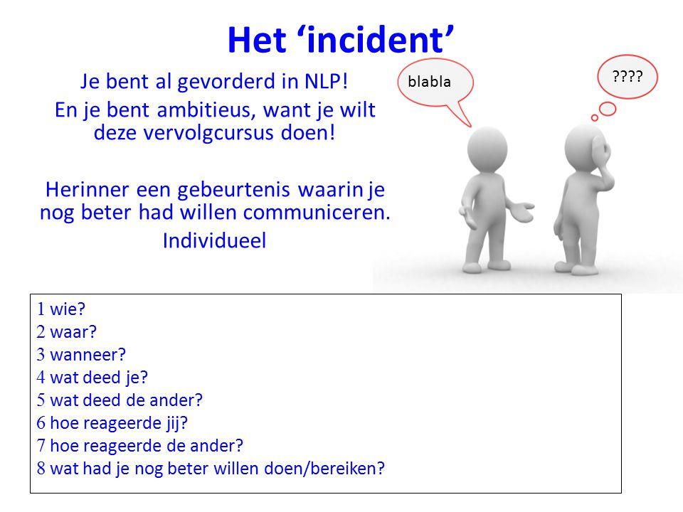 Het 'incident' Je bent al gevorderd in NLP!