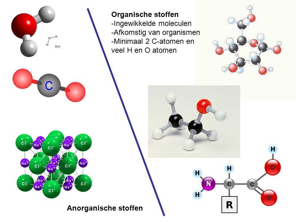 Organische stoffen Ingewikkelde moleculen. Afkomstig van organismen. Minimaal 2 C-atomen en. veel H en O atomen.