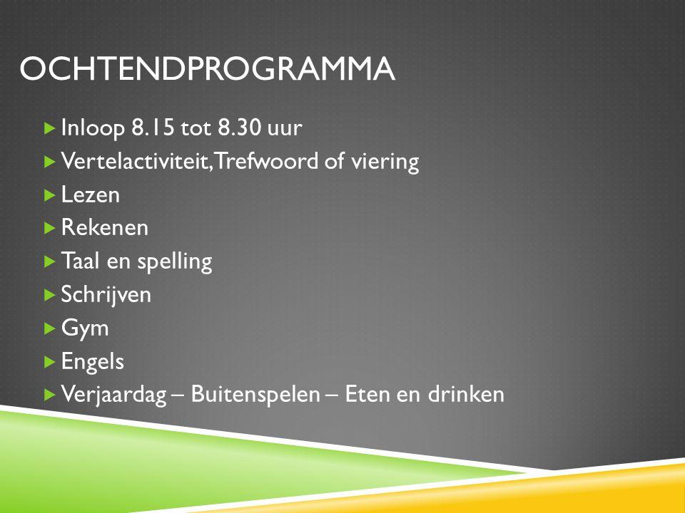 Ochtendprogramma Inloop 8.15 tot 8.30 uur