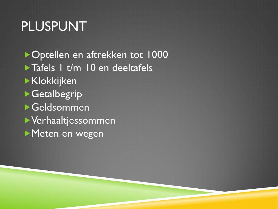 Pluspunt Optellen en aftrekken tot 1000 Tafels 1 t/m 10 en deeltafels