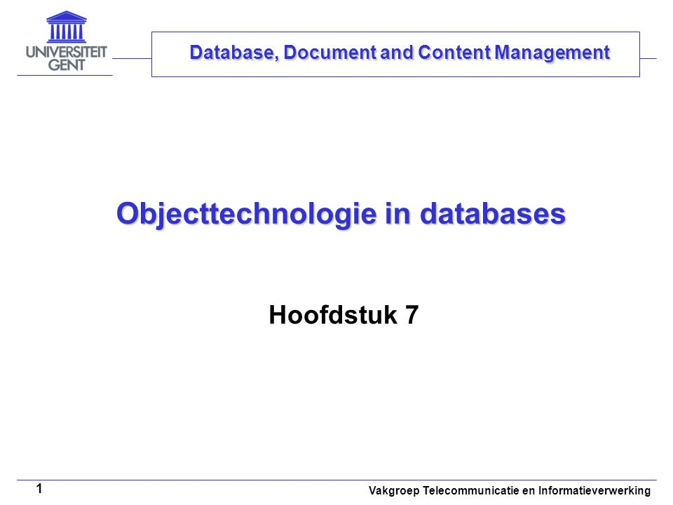 Objecttechnologie in databases