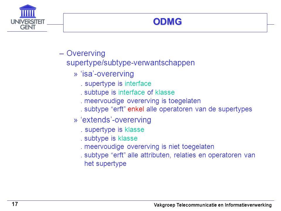 ODMG Overerving supertype/subtype-verwantschappen